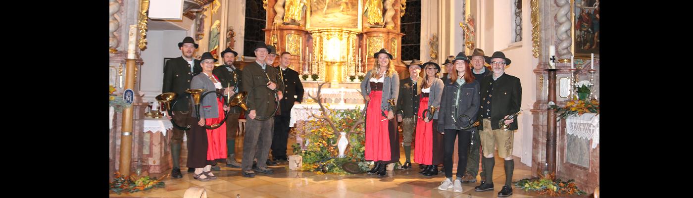 Hubertusmesse, Bläsergruppe mit neuer Besetzung in Niedertaufkirchen
